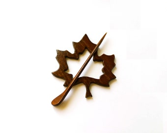 Wood Shawl Pin brooch Maple-leaf brown Wood Shawl Pin Set