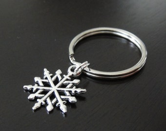 ONE Dollar Sale Antique Silver Snowflake Key Chain