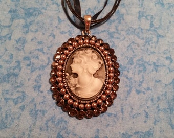 Pearl and Rhinestone Cameo Necklace - Victorian Inspired