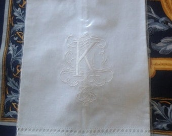 """Embroidered """"K"""" Monogram Guest Towels with  Galucci Border"""