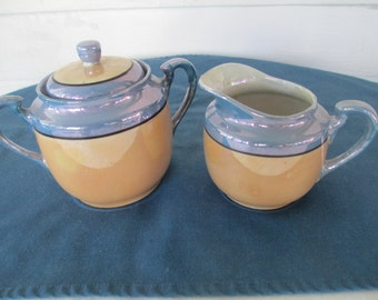 Vintage Blue And Peach Lusterware Creamer And Lidded Sugar Bowl Set Marked Japanese Dinnerware Housewares Serving 1940's Dining Hand Painted