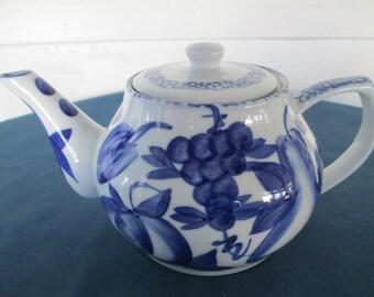 Vintage Nantucket Blue Fruit Motif Teapot Housewares Home Decor Serving Collectible China Drinkware