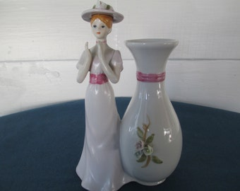 Vintage Porcelain Woman Figurine With Attached Vase Marked French Country Home Decor Figurines