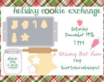 Holiday Cookie Exchange Invitation  Cookie Dough theme with Bonus Cookie Label