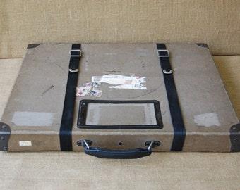 Vintage Film Reel Shipping Box with Canvas Straps, Mailing Box, Storage Box, Home Decor, Vintage Storage