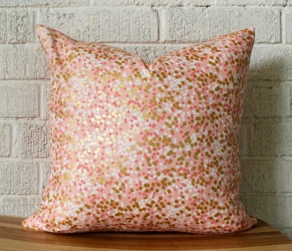 Coral and gold metallic dots pillow cover 16 inch by for Peach and gold bedroom