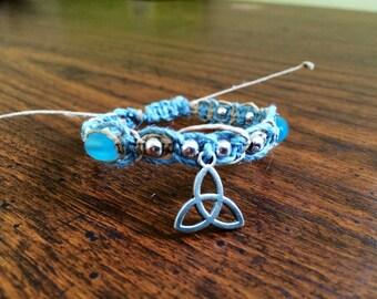 Trinity Triquetra Bracelet with Silver and Blue Beads, Hemp Jewelry, Adjustable Hemp Bracelet