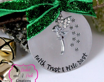 Hand stamped Tinker Bell inspired Christmas Tree Ornament