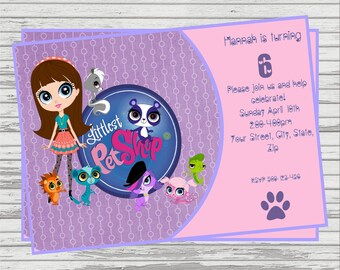 Littlest Pet Shop DIGITAL Birthday Invitation.