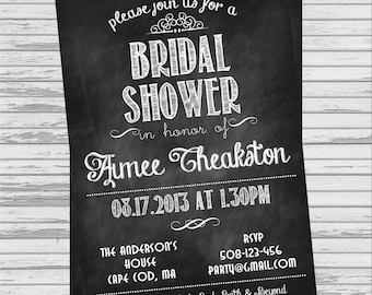 Chalkboard Bridal Shower Invite - Vintage Look.