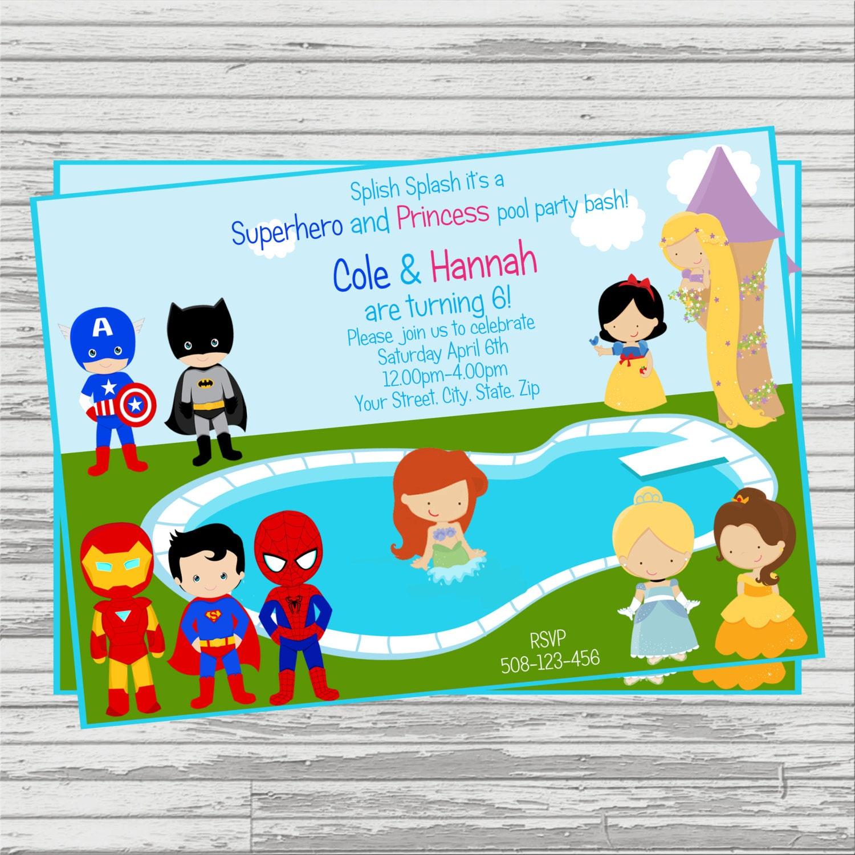 Superhero and Princess Twins Pool Party Custom DIGITAL