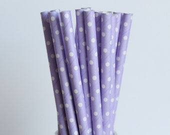Lavender with Small White Polka Dot Paper Straws-Lavender Straws-Polka Dot Straws-Wedding Straws-Purple Straws-Party Straws-Cake Pop Sticks