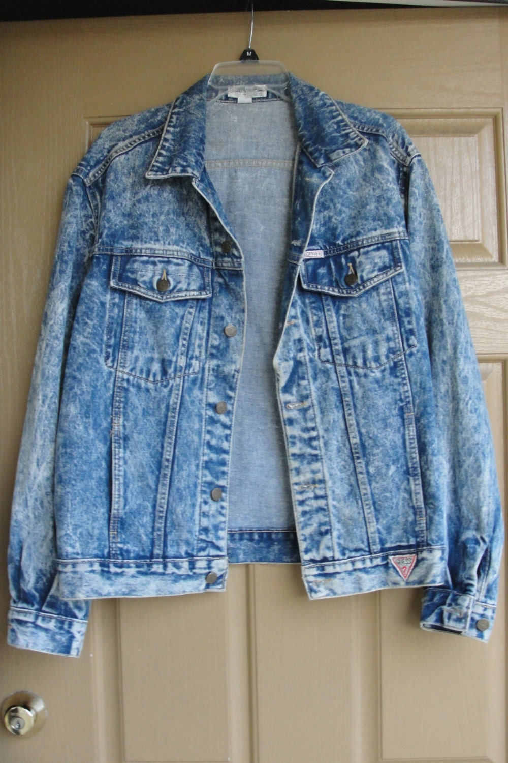Vintage 80s 90s Guess Denim Jean Jacket With Triangle Logo