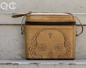Small Boxy Leather Purse with Skull Design on side. -  Día de los Muertos - Day of the Dead