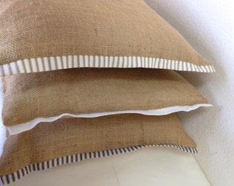 Queen king size Burlap Pillow Cover, Cushion Cover, Burlap Bedding, Shabby Chic Pillow Cover