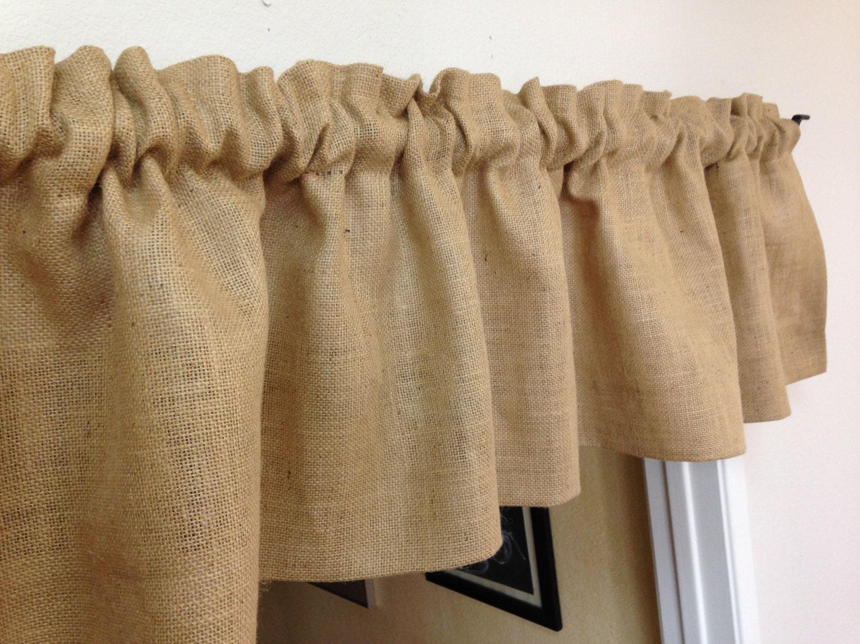 Burlap curtains farmhouse valance rustic curtains country for Burlap christmas curtains