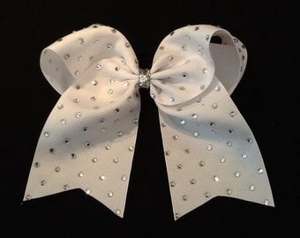 Rhinestone White Cheer Bow Rhinestone Cheer Bow White Cheer Bow 3 Inch Cheer Bow, Texas Sized Bow, Team Discounts