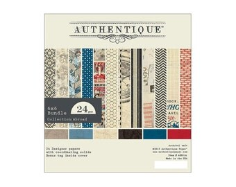 """AUTHENTIQUE Paper, Abroad Collection,  6"""" X 6"""" bundle, paper pad, 24 sheets, scrapbooking and paper crafts, travel theme"""