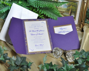 "Elegant Pocketfold Invitation -""Chenel"" SAMPLE ONLY"