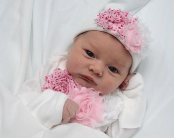 """Newborn Girl Shabby rose """"take me home outfit"""", Matching hat and Long sleeve outfit set. Valentine's Day Gift Set.  Newborn hospital beanie"""