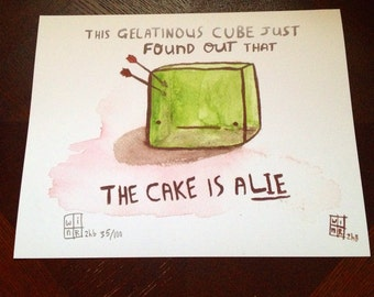 "Gelatinous Cube ""the cake is a lie"" Print"