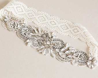 Antique bridal garter set, wedding garters - Style R31