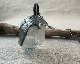 quartz necklace, raw crystal, statement  necklace, natural stone, clear quartz, Tiffany method, handmade