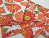 Mod Floral Napkins Orange Yellow Flowers Set of 5 Napkins Mod 1970 Linen Napkins Daisy Zinnia