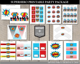 INSTANT DOWNLOAD Superhero Birthday Party Package / Printable DIY / Super Hero / Superheroes Collection / Item #500