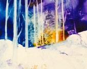 "ACEO Original Watercolor ""Snow Scene Series "" //////FREE SHIPPING!"