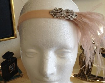 PINK Gatsby DRESS Headpiece, Champagne Headpiece, Champagne Headband, Blush Feather,Swarovski