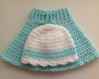 Hand Crochet Baby Girl Outfit.To Fit Sizes 6mths to 12 mths
