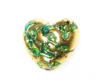 Gold Czech lamp heart beads