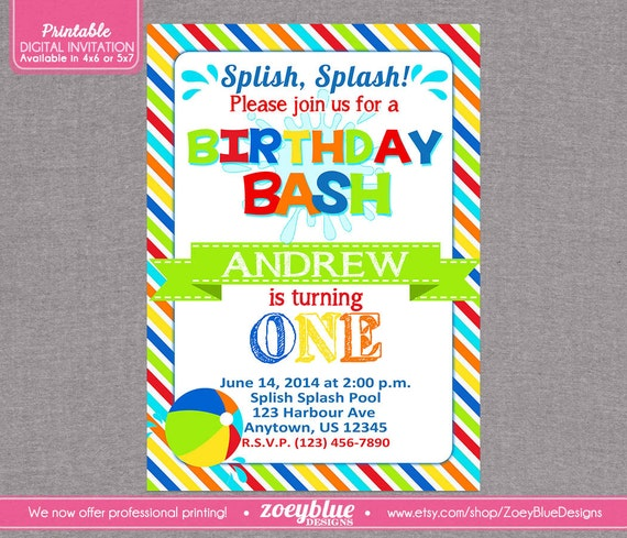 Bash Invitations Bash Invitation Beach Ball