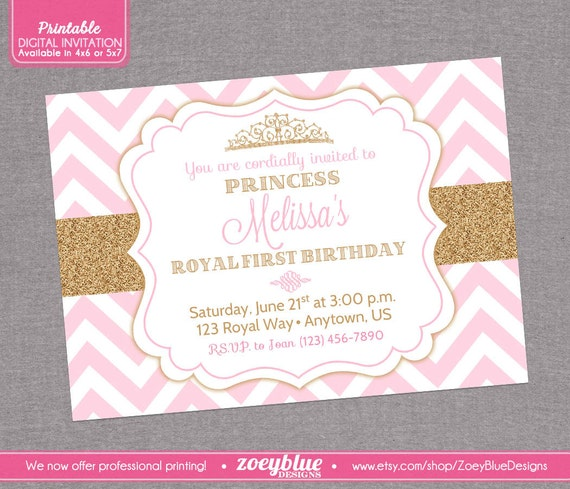 Pink And Gold Princess 1st Birthday Party Fresh Pink And: Princess Birthday Invitation Pink Gold Chevron By
