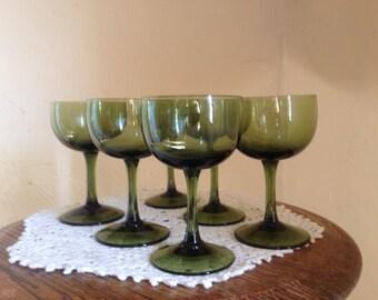 Wonderful vintage set of (6 ) Olive Green Glass Pedestal Cordial or Sherry  Glasses