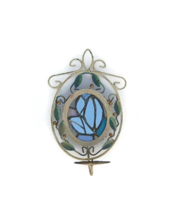 Vintage upcycled metal candle sconce. Stained glass. Tiffany