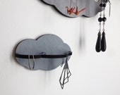 2 Wall jewelry holder - Gray - jewelry display - jewelry organizer hanger - wooden home decor- graphic