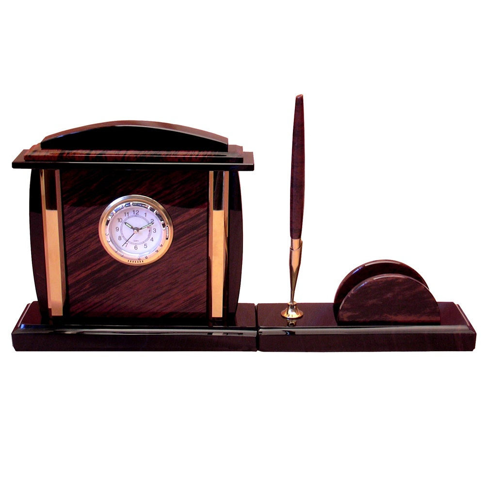 Office Desk Clock Made From Obsidian With Pen Holder And