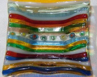 Vintage Italian Multi Colored Venetian Art Glass Millefiori Dish Tray Bowl