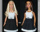 My Size Barbie Doll Black N White Polka Dot Sun Dress