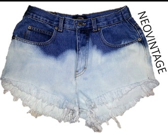 High Waisted Ombre Half Bleached Pyramid Denim Shorts