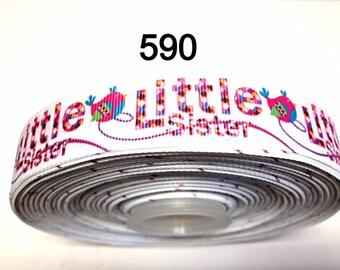 """3 or 5 yard - 7/8"""" Little Sister Bird Motif  on White Grosgrain Ribbon Hair bow"""