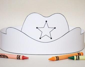 Cowboy Hat Paper Crown COLOR YOUR OWN - Printable