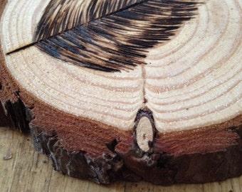 "Wood Coaster - Set of 4 - Woodland Feather Wood Burned Pine Coaster - Set of 4 - Pine Wood Coaster - Wood Burned Feather Coaster - 4"" inch"