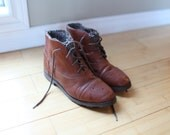 vintage brown leather sweater oxfords ankle boots lace up womens 7 1/2