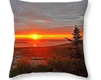 Cadillac Mountain Sunrise Throw Pillow, Maine Pillow, New England Pillow, mount desert island, acadia national park, sunrise photography