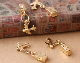 10 pcs of antique gold airplane and suitcase charm pendants 12mm