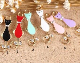 10 pcs of antique gold  cat drop oil charm pendants 38x12mm