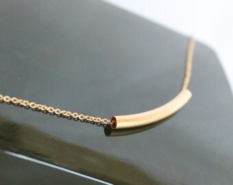 Curved Bar Necklace, Gold Tube Bar Necklace